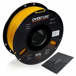 Overture Petg Filament 1.75MM With 3D Build Surface 200 X 200 Mm 3D Printer Consumables 1KG Spool 2.2LBS Dimensional Accuracy + - 0.05 Mm Fit Most Fdm Printer Yellow