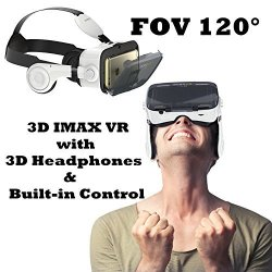 Tsanglight 3D VR Glasses 3D VR Headset With Headphones For Iphone & Android Virtual Reality Headset With Built in Controller For Iphone X 8 Plus | R |