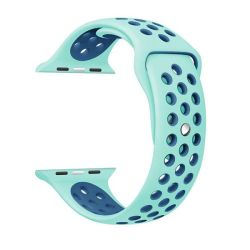 38 40MM Silicone Strap For Apple Watch - Frost Green & Blue M l