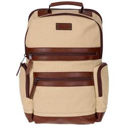 Renwick Business Backpack With Genuine Leather Trim Cream