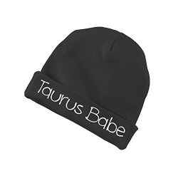 Taurus Babe Zodiac Sign Baby Beanie Cotton Cap Hat - Black