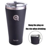 Qottle 30 Oz Double-wall Vacuum Insulated Tumbler - Coffee Travel Mug Stainless Steel Beer Growler-black