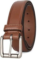 """Leather Men's Classic Dress Stitched Belt Roller Buckle 1-3 8"""" Wide Usa Tan Size 40 9716"""