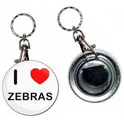 BadgeBeast I Love Heart Zebras - 55MM Button Badge Bottle Opener Key Ring