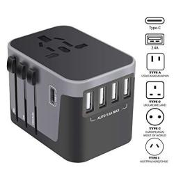 Universal Travel Adapter Usb-c International Power Adapter Worldwide Plug Adaptor With 4 USB Ports Type-c 3.0A Fast Wall Charger