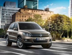 "Volkswagen Tiguan 2012 Car Art Poster Print On 10 Mil Archival Satin Paper Brown Front Side Static View 36""X24"