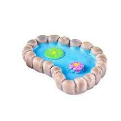 SANNYSIS Resin Miniature Simulation Lotus Pond Diy Craft Accessory Home Garden Decoration Accessories B