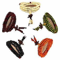 Raintoad 5 Pcs Beads Bracelet Chinese Style Rosary Men's Bracelet 108 Beads 6MM Red Black Yellow Green White