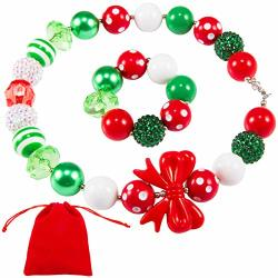 Madholly 2 Pcs Stretch Christmas Beaded Bracelet Necklace Set- Kids Holiday Festive Jewelry Set With Red White And Green Xmas Theme Beads For Children