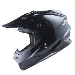 Power Gear Motorsports 1STORM Adult Motocross Helmet Bmx Mx Atv Dirt Bike Helmet Racing Style Glossy Black