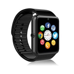 Msrmus Smart Watch Compatible For Iphone 5S 6 6S 7 7S And Android 4.3 Above Anti Theft Water Splash Resistant And Handfree And Pedometer Fitness Tracker Partial Functions -GT08