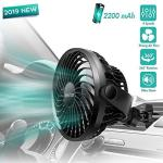 Car Fan Car Air Vent Clip Fan 2200 Mah Rechargerable Battery Powered Fan Air Circulation Fan With High Airflow Four Speeds 360RO
