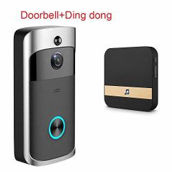 Alician Smart Wireless Wifi Doorbell Ir Video Camera Intercom Record Home Security Bell Black Us Plug