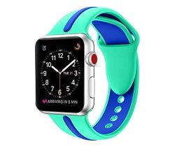 EloBeth For Apple Watch Band Soft Silicone Sport Style Replacement Wrist Strap Stripe Color Splicing For Apple Watch Bands Series 3 SERIES 2 SERIES 1 Green blue 42MM