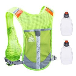 Triwonder Reflective Running Vest Hydration Vest Hydration Pack Backpack For Marathoner Running Race Cycling Green - With 2 Water Bottles