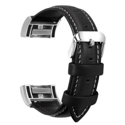 Zonabel Fitbit Charge 2 Leather Strap - Black Large