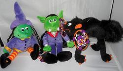 USA Halloween Twist-a-bouts Plush: Witch Black Cat Vampire Set Of 3