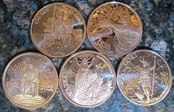 Anonymous Mint Norse Gods 1 Oz Copper Rounds Complete Set Five Coins: Odin Thor Freya Loki And Hel