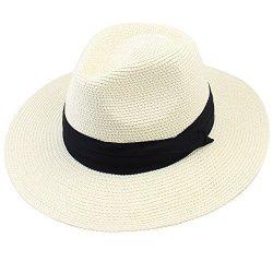 586aa783ac0981 FURTALK Panama Roll Up Hat Fedora Beach Sun Hat UPF50+ Braid Straw Short  Brim Jazz Panama Cap For Women Men