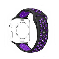 38MM Hole Band For Apple Watch - Black & Purple Size: S m