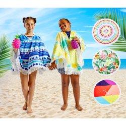 No Brand Round Poncho Multi Blocks Assorted