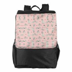Pajgnapbnalw 101 Dalmations Pongo Perdy & Puppies Pink Fabric Travel Laptop Backpack Male And Female College Students Outdoor Travel Backpack
