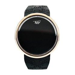 Techno Pave Black On Gold Digital Touch Screen Sports Smart Watch Silicone Band