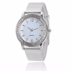 WATCH Han Shi Women Fashion Diamond Crystal Analog Quartz Wrist Luxury Steel Bracelet M White