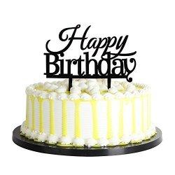 Awesome Deals On Palasasa Happy Birthday Cake Toppers Monogram Black Funny Birthday Cards Online Benoljebrpdamsfinfo