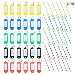 30 Pcs Key Tags With Key Rings Cables Finegood 30 Plastic Key Tags With Label Windows & Metal Keyring
