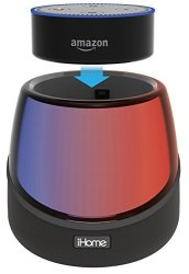 IHOME IAV5 Color Changing Bluetooth Rechargeable Stereo Speaker System For Amazon Echo Dot