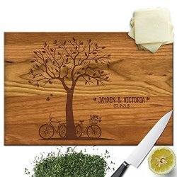 Froolu Bicycle And Tree Wooden Cutting Board For Custom Name Engraved Anniversary Gifts