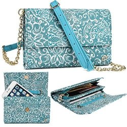 NuVur Teal Large Women's Universal Lace Print Over The Shoulder ::card Slots:: Wallet Smartphone Clutch Fits Huawei Mate S