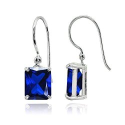 Sterling Silver Created Blue Sapphire Octagon-cut Solitaire Drop Dangle Earrings For Women