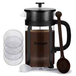 Zzanggu Coffee Maker Bundle French Press 8 Cup 34 Oz 1 Liter Heat-resistant Glass Coffee Pot With 304 Stainless Steel Double Filter Screen For Brewing Coffee tea Black