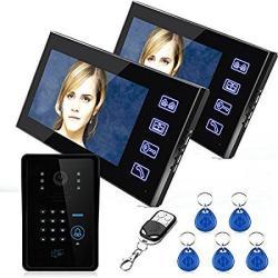 "Mountainone 7"" Two Monitors Rfid Password Video Door Phone Intercom D"