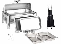 QT 8 Full Size Roll Top Chafing Dish Bundle Stainless Steel - 1 Full Size And 2 Half Size Food Pans 1 Water Pan