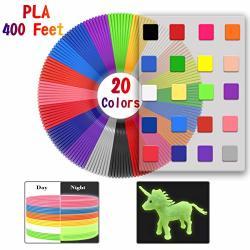 3D Pen Filament 400 Feet 20 Colors Glow In The Dark Refills Pla Bonus 250 Stencil Ebook - 3D Pen Filament 1.75MM For Tecboss