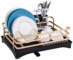 Aluminum Dish Drying Rack - Dish Drainer For Kitchen Counter Top Rust Proof 16.5 X 11.8 X 5.7 Inch Small Dish Rack Drain Board