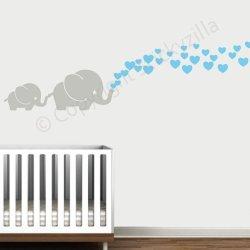 Stickyzilla Cutie Grey Elephants With Colored Bubble Hearts Vinyl Wall Decal Sticker Baby Nursery Play Room Light Blue Hearts