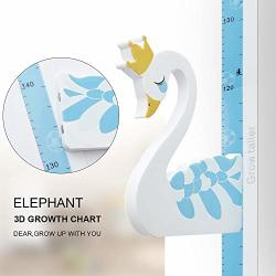 Wpt 3D Swan Growth Chart Height Ruler Iron Rubber Magnetic Measurement Removable Header Portable Decals Children Room Kindergarten Blue