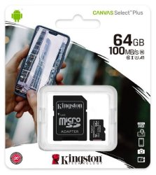 64GB Kingston Micro Sd Canvas Select 100MB S