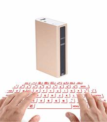 Devilelover Projection Keyboard Wireless Portable Lightweight Voice Broadcast Speaker Mouse And Keyboard Are Combined Into 1 Projection Virtual Keyboard Qwertz Layout Gold