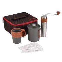 Outad Portable Coffee Maker Set 20FL.OZ French Press Coffee Maker Manual Coffee Grinder 3 X 10FL.OZ Mugs Carry Bag
