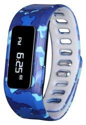 GabbaGoods Gg-kat-bca Kids Fitness Watch Activity Tracker Kids Smart Wristband Watch Wireless Activity Health Tracker Wearable Printed Band Pedometers - Blue Camo