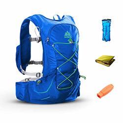 Triwonder 15L Hydration Pack Ultra Trail Running Vest Marathon Backpack With Hydration Bladder Blue - With 2L Water Bladder