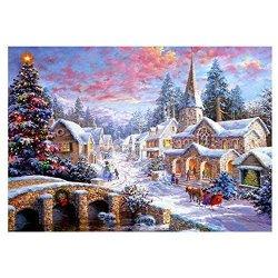 Amazingdeal Diamond Painting Christmas Street Diy Full Drill Round Diamond Painting Embroidery Art Craft