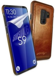 Tuff-Luv Alston Craig Genuine Vintage Leather Magnetic Shell Case For Samsung Galaxy S9 Brown