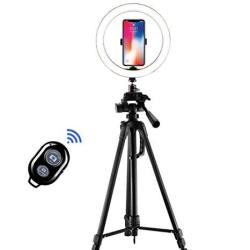 """10.2"""" Selfie Ring Light With 55"""" 62"""" 67"""" Retractable Side Shot Tripod Stand & LED Camera Light For Youtube Video And Live Makeup photography 12W B"""