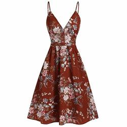 Tltl Fashion Women Floral Printed Dresses Camis V-neck Sleeveless Casual Dress Small Red